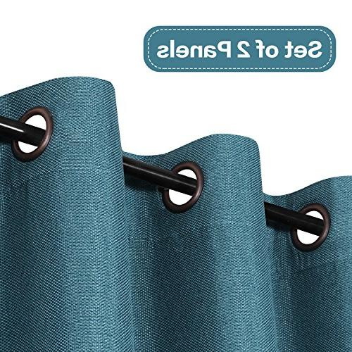 Blackout Classical Grommet Top Thermal Heavy Textured Curtains for Room, Teal, 84 by Inch