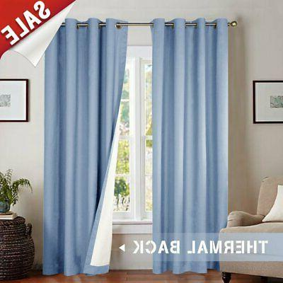 blackout curtain 63 inch blue for bedroom