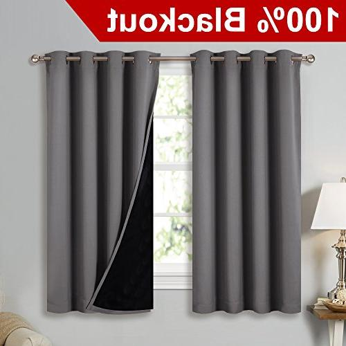 NICETOWN Blackout Curtains with Black Liners, Home Decor Insulated Full Blackout Drapes, Draperies Bedroom