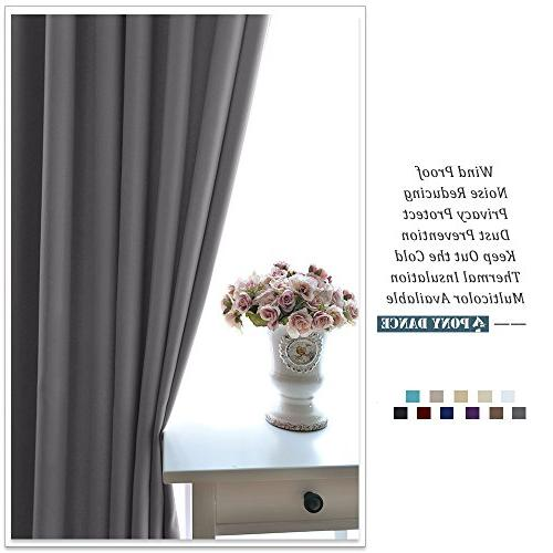 PONY DANCE Blackout Curtains Solid Insulated Curtain Light Draperies for Living Decor, by 72 Color, 2 Panels