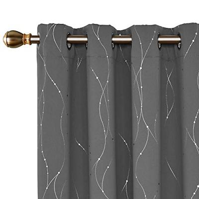 Blackout Curtains Grommets Dots Pattern Thermal Insulated Dr