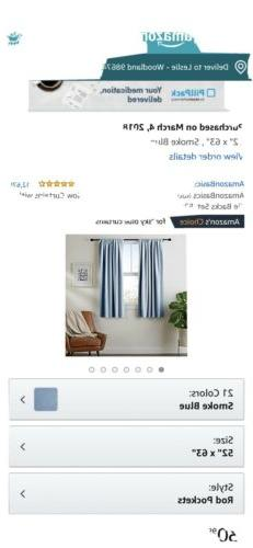 "Blackout Curtains Set With Tie backs 52""x63"" Smoke Blue"