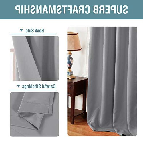 Curtains Blackout Thermal Insulated Grommet Curtains Drapes for Living Room Saving Curtains for Door, Dove 1 Panel