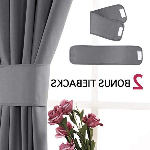 Flamingo P 100% Blackout Grey Curtains Thermal Cotton Finishing Curtains, 2 Panels,