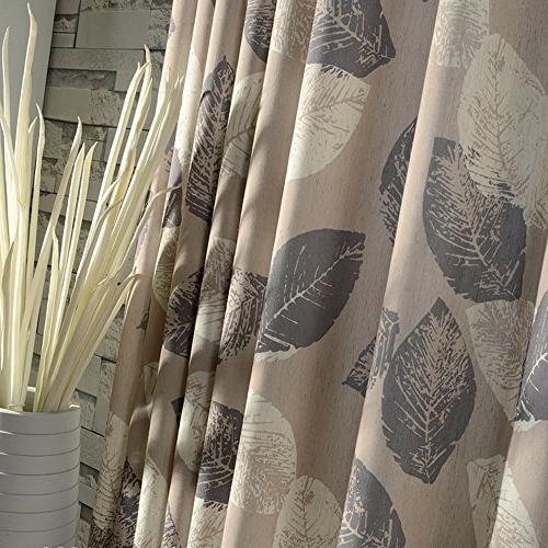 Anady Top Leaf Curtains Grey White Panel Cotton Khaki Curtains for Room Grommet Wide