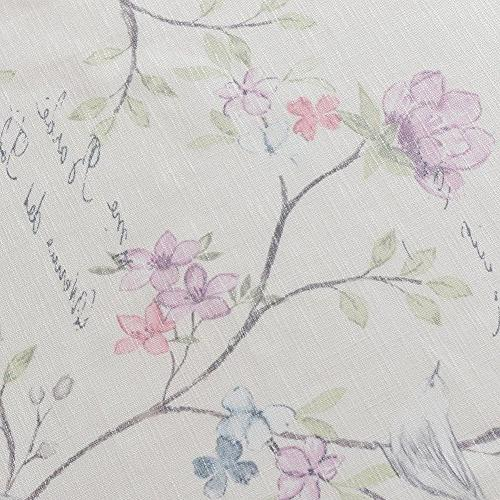 Anady Top Blackout Lined Curtains Panel White Drapes Leaves and Birds Grommet 63 inch