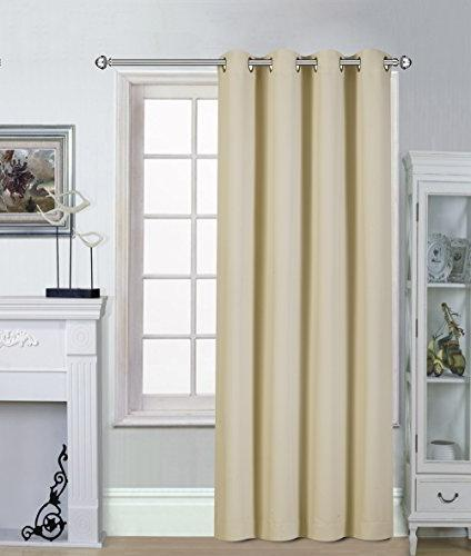 Utopia Darkening Window Drapes Beige - 1 Inches Inches Grommets/Rings Panel 1 Tie