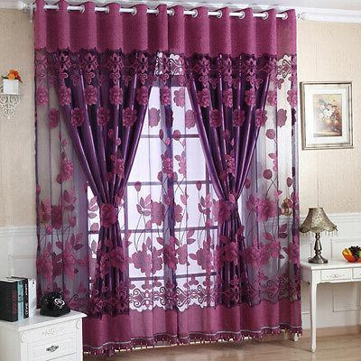 Hot 1pc Floral Window Blackout Tulle Curtain Elegant Room Dr
