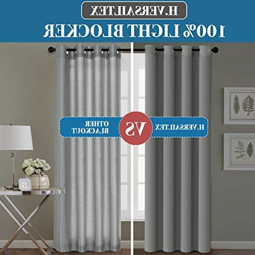 H.VERSAILTEX 100% Blackout Long 108 Inches Performance Grommet Drapes with Black Liner, Full Light Blocking Drapery