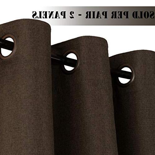 H.VERSAILTEX Extra Long 108 Room Linen Curtains/Draperies, Weight Linen Curtains for Dining Room - Brown