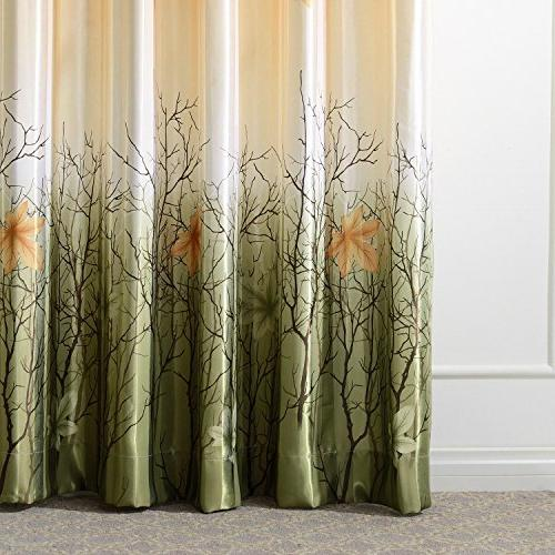 Green Tree Curtains Living Room - Top Panel Green/Orange Maple Leaf for Grommet 84 inch