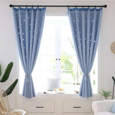 Double-layer Curtain Starry Bedroom Decor