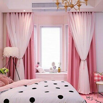 Double-layer Curtains Blackout Floor Curtain Starry Curtains