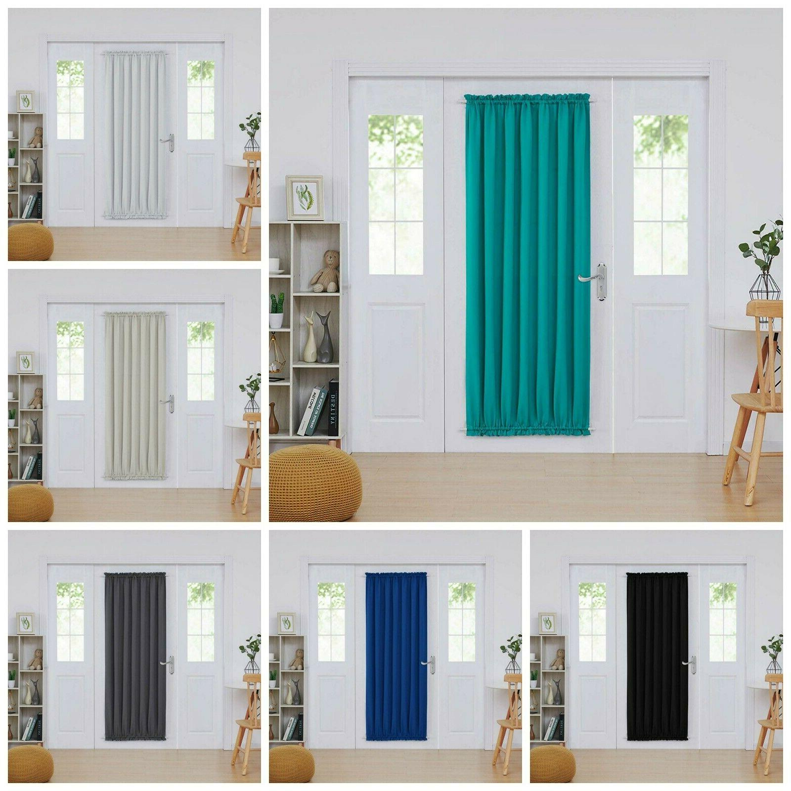 Dual Rod Pocket Blackout Curtains French Door Panel Shade Cu