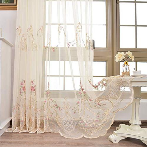 elegant floral embroidery sheer voile