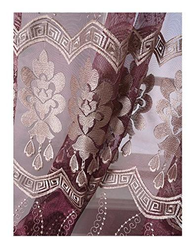 embroidered sheer voile window curtains