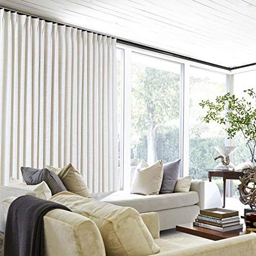 """ChadMade 50"""" x 96"""" Polyester Drapes Thermal Lining Pleat Curtain for Sliding Door Door Living Bedroom, Beige"""