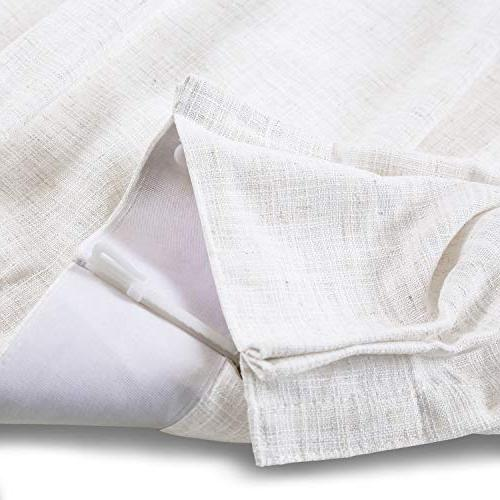 """ChadMade 50"""" W 96"""" L Drapes Blackout Thermal Lining Curtain for Door Room Beige White"""