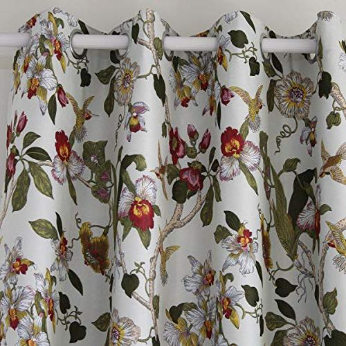 Anady Blackout Bedroom Panel Bird Curtains Drapes for Grommet 84 inch Length