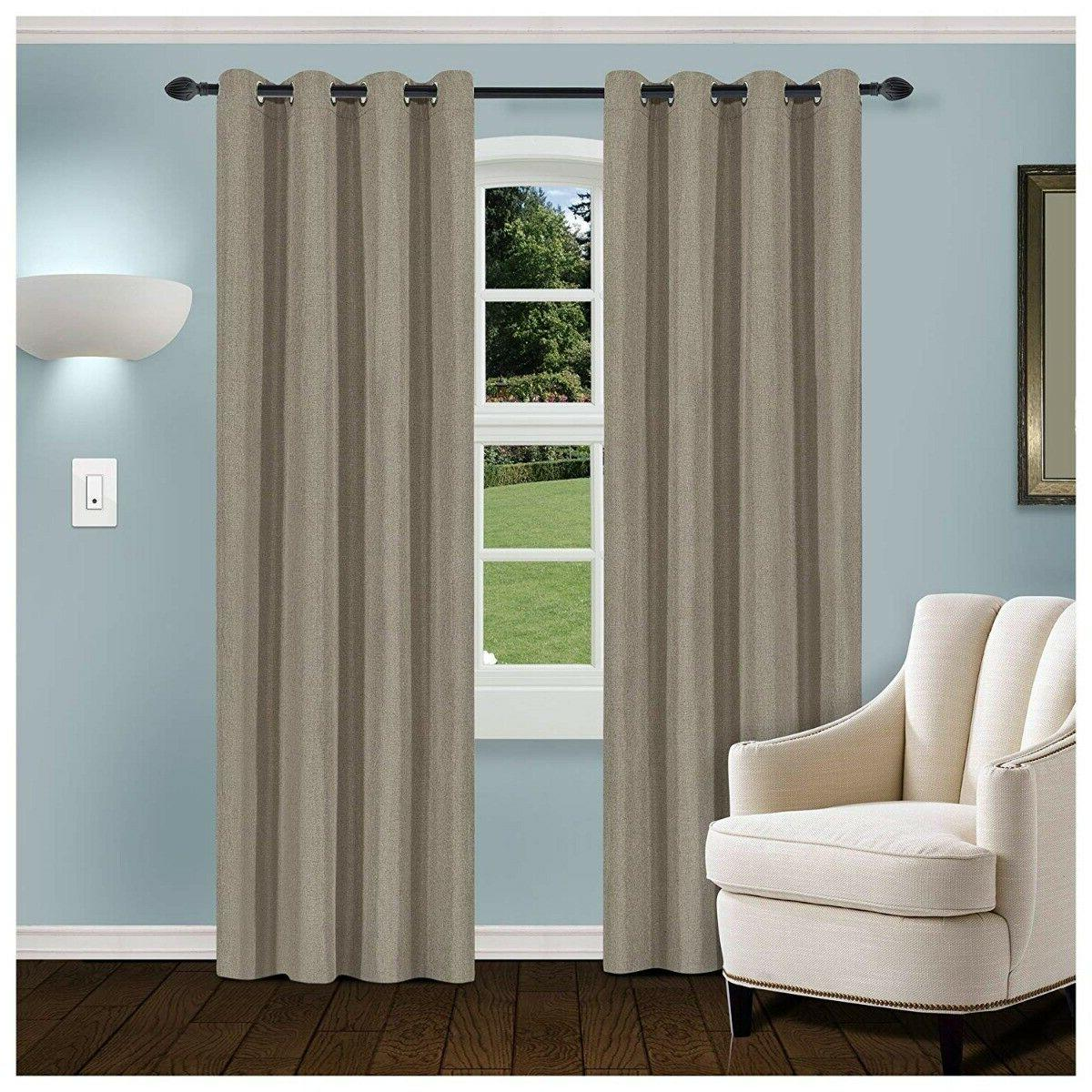 gray linen blackout insulated grommet curtains 2