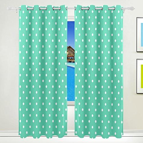 AIDEESS Green Polka Dot Curtain Panels Insulated Blackout Thermal for Inch