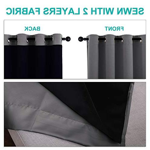 with Liners, Home Decor Thermal Full Blackout 2-Layer Drapes, Draperies for