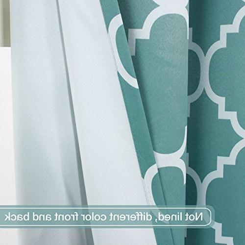 Flamingo P Light Moroccan Insulated Blackout Printed Window Curtains for Living Grayish Blue Set Two Panels, by