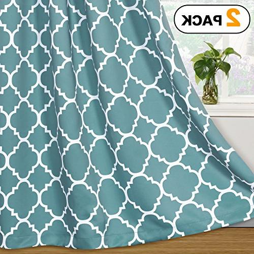 Flamingo P Light Blocking Moroccan Printed Window Curtains for Living Room, Grommet Grayish Blue Two Panels, 84 by 52