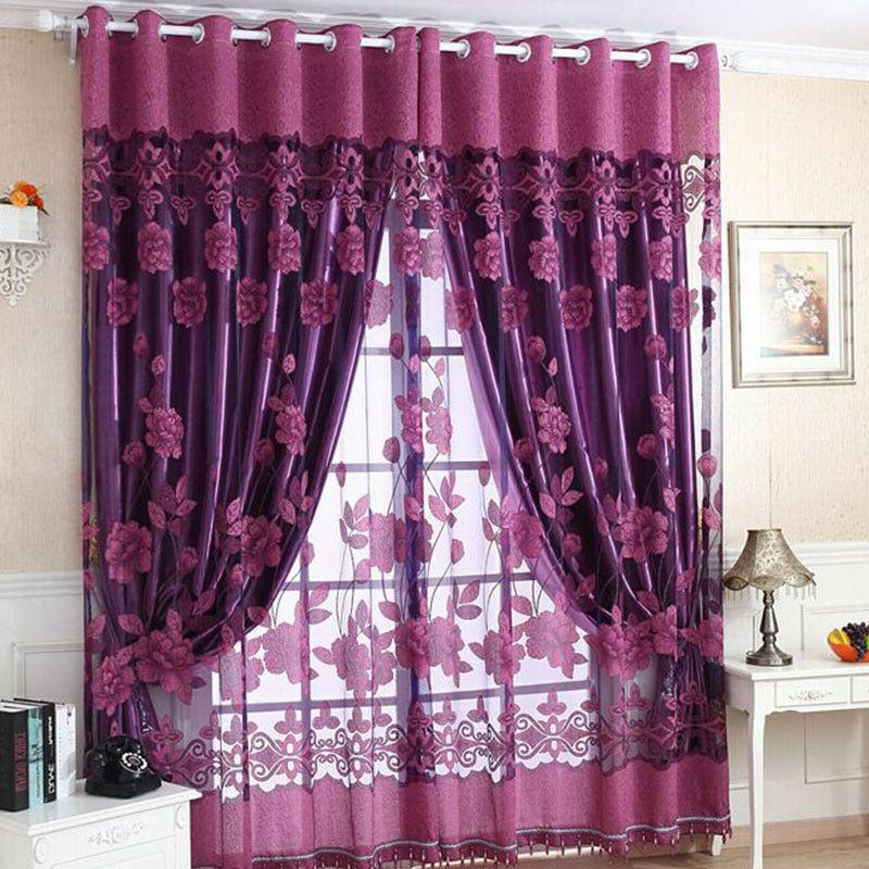 Luxurious Window Burnout Tulle Living