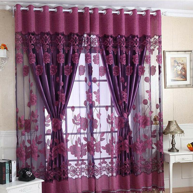 home luxurious jacquard window curtains burnout tulle