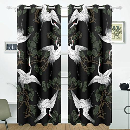 japanese crane pattern blackout curtains