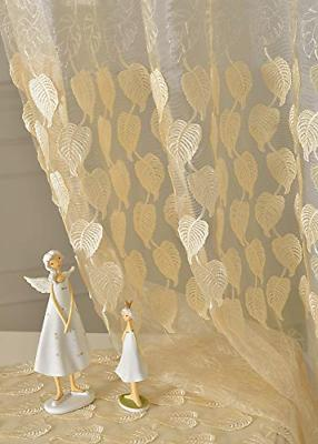Lace Sheer Curtain Leaf Pattern Rod Pocket Embroidered Windo