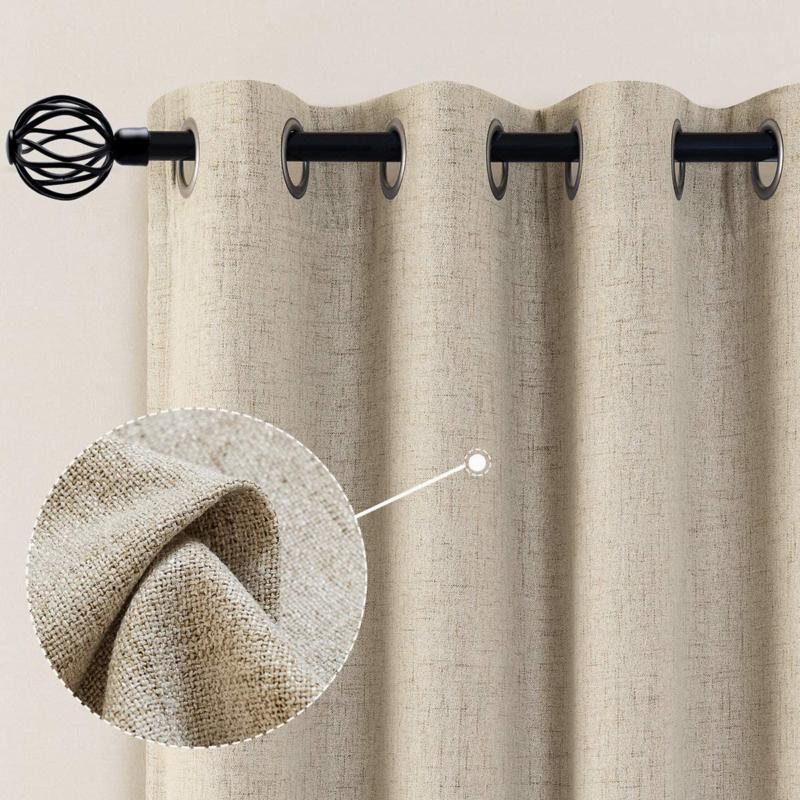 Vangao Linen Blackout Curtains 95 Inches Long Linen Textured