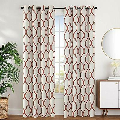 linen textured curtains moroccan tile printed 84