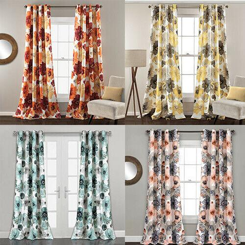 lush decor leah floral darkening window curtains