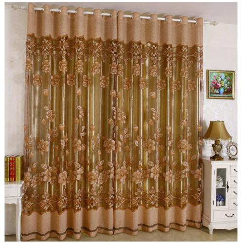 Luxury Curtain Floral Voile Panel Valance Home