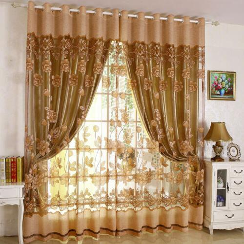 luxury window blackout tulle curtain floral voile