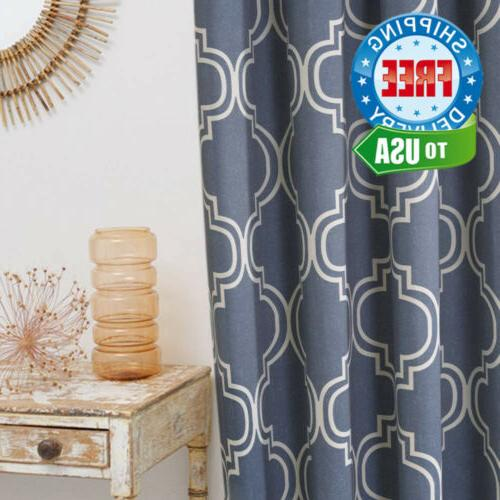 moroccan tile printed window curtain panels blackout