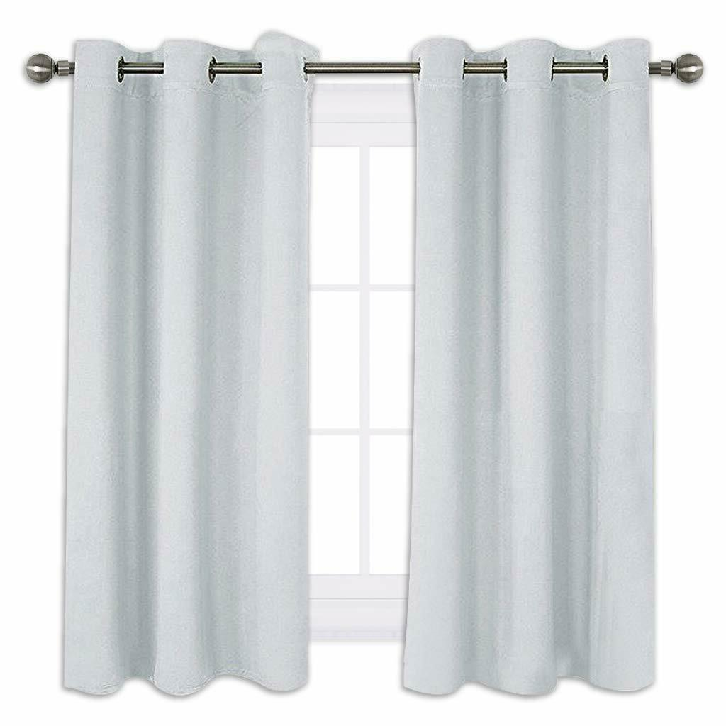 Two Panels 42 X 54 Inch Gray Nicetown Bedroom Curtains Blackout Drapery Panels Three Pass Microfiber Thermal Insulated Solid Ring Top Blackout Window Curtains Drapes Panels