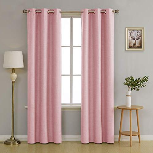 Deconovo Pink Linen Coating Grommet Blackout Panels for Inch