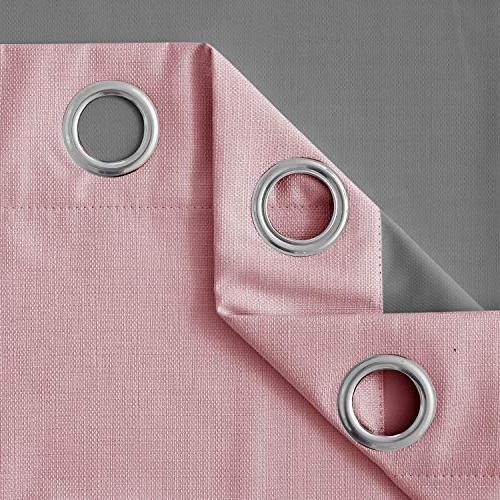 Deconovo Pink Coating Grommet Curtain Panels 38x84 Inch 2 Panels