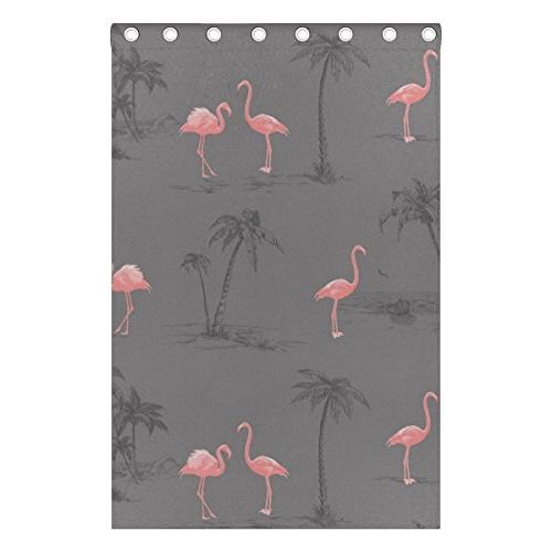 ALIREA Pink Flamingo Curtains Darkening Insulated Polyester Curtain Living Room,2 Panel