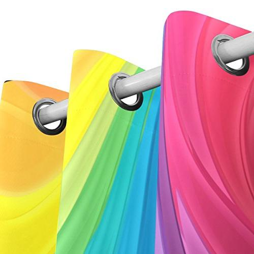 ALIREA Rainbow Colors Curtains Thermal Insulated Polyester Grommet Curtain Bedroom, Room,2 Panel