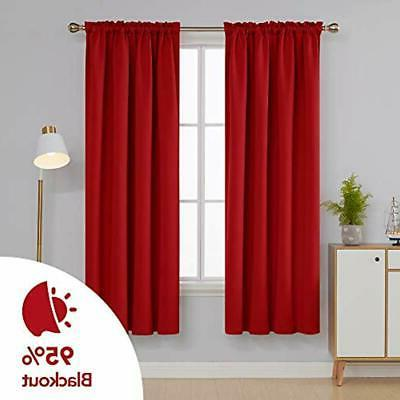 Red Blackout Curtains Rod Pocket Drapes True 42W X Inch