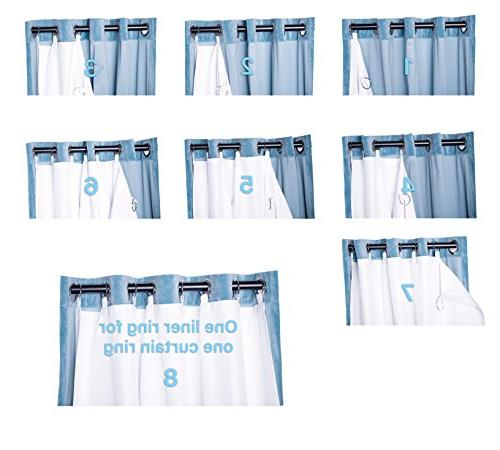 """Thermal Liner Panel-Ring Included- Liner for Curtains, Curtain Liner White 63 inch Curtains:50""""x60""""-Ring"""