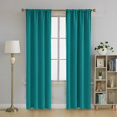 Deconovo Room Darkening Blackout Curtains Pocket Thermal Insulated