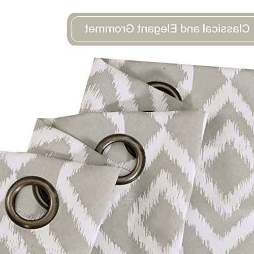 Modern Geometric Geometric Print Blackout Curtains for Living Room 52W Inch Dove 1 Pair