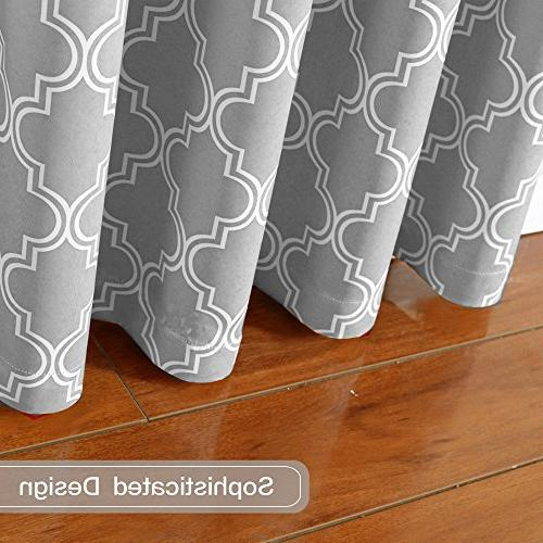 Flamingo Geometric Curtains Thermal Insulated Blackout for x Inch Gray 1 Pair