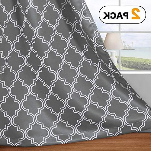 Flamingo Geometric Decor Thermal Insulated for Living Room x 84L Inch Gray 1