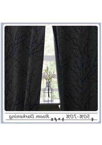 Room Darkening Thermal Insulated Curtains Gray/Navy Print 52 x